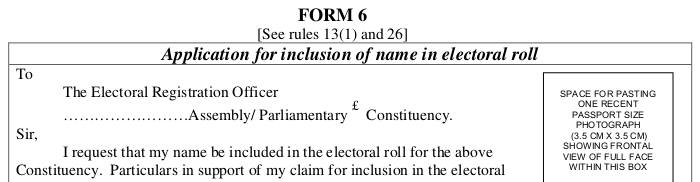 voter id Form 6